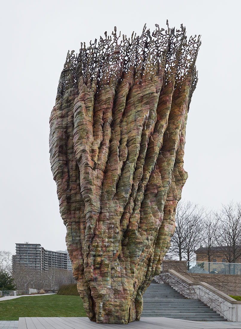 Bronze Bowl with Lace, 2013�14 (cast 2017�18), by Ursula von Rydingsvard, American, born Germany 1942. Bronze, 19.6 x 9.4 x 10 feet (6 x 2.9 x 3 m). The artist first constructed this work in ce