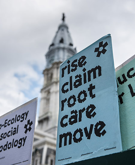 Philadelphia Assembled banners in front of Philadelphia's City Hall