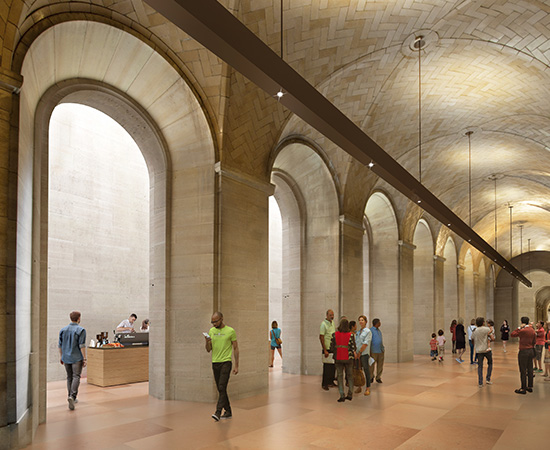 Artist rendering of visitors in the new Vaulted Walkway.