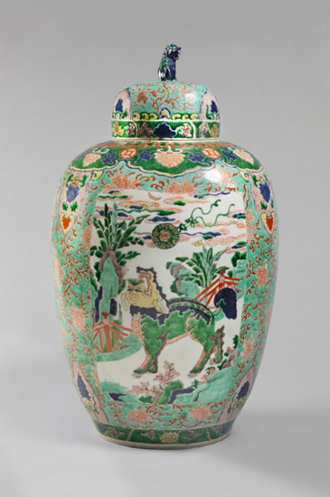 Covered Jar with Qilin, Lion, and Elephant