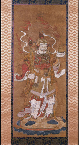 Buddhist Woodcut of Bishamon-Ten