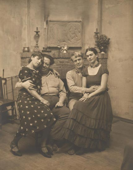 Diego Rivera and Frida Kahlo with Lucile and Arnold Blanch at Coyoacán