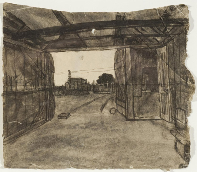 Untitled (Farmscape, view from inside shed through shed doors)