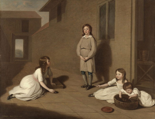 Four Children in a Courtyard