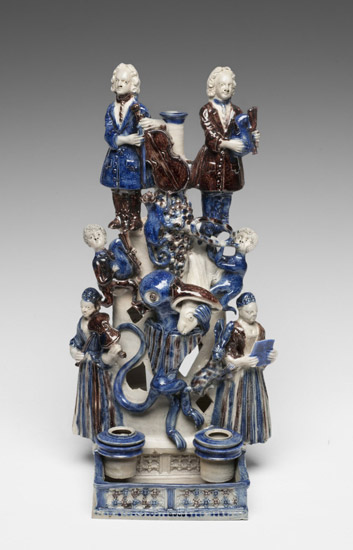 Inkstand and Candleholder with Musicians, Animals, and a Griffin