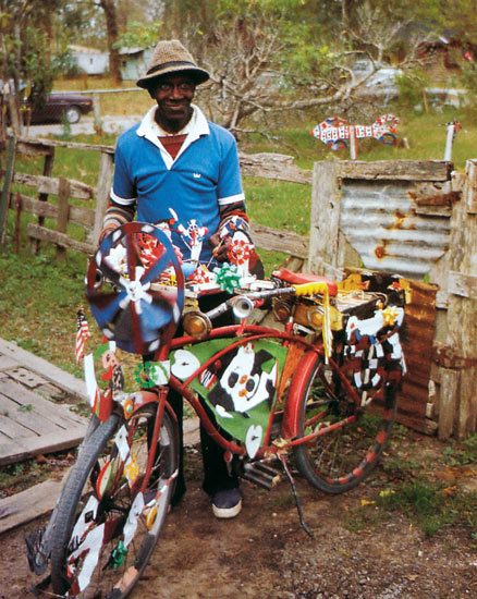 David Butler with his sculptural bicycle, Patterson, La., 1986