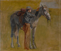 "Image 03: Cowboy: Sketch for ""Cowboys in the Badlands""Cowboy: Sketch for ""Cowboys in the Badlands"", by Thomas Eakins, c. 1887.  Oil on canvas (mounted on Masonite), 10 x 14 ¼ inches. Denver Art"