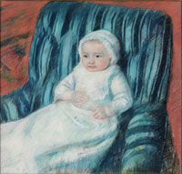 Image 04: Madame Berards Baby in a Striped Armchair