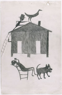 Image 06: House with Two Men, Dog, and Bird