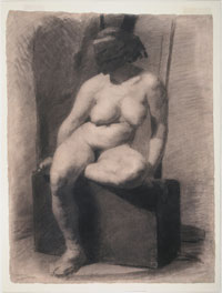 Image 01:Study of a Seated Nude Woman Wearing a Mask
