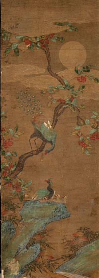 Image 01: Peacocks in Peach Tree under Moonlight