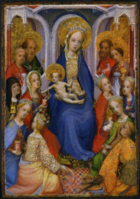 Image 01: Enthroned Virgin and Child, with Saints Paul, Peter, Clare of Assisi, Mary Magdalene, Barbara, Catherine of Alexandria, John the Baptist, John the Evangelist, Agnes, Cecilia, Margaret of Ant