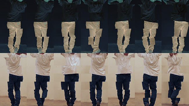 Video still from Contrapposto Studies, I through VII, by Bruce Nauman, 2016