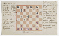 Chess scorecard made with stamps designed by the artist