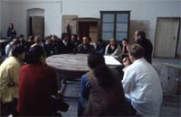 Michelangelo Pistoletto leading a discussion