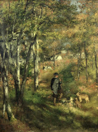 Jules Le Coeur Walking in the Fontainbleau Forest with his Dogs