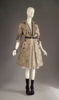 Image 02: Coat, Top, Skirt, and Accessories