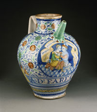 Spouted Drug Jar with an Embracing Couple