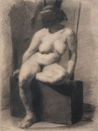 Study of a Seated Nude Woman Wearing a Mask