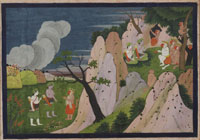Sugriva Takes Rama to the Mountain Cave Where Sita's Jewels Are Kept