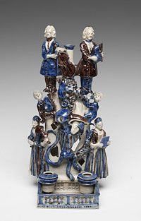 Inkstand and Candleholder with Musicians, Animals, and Griffin