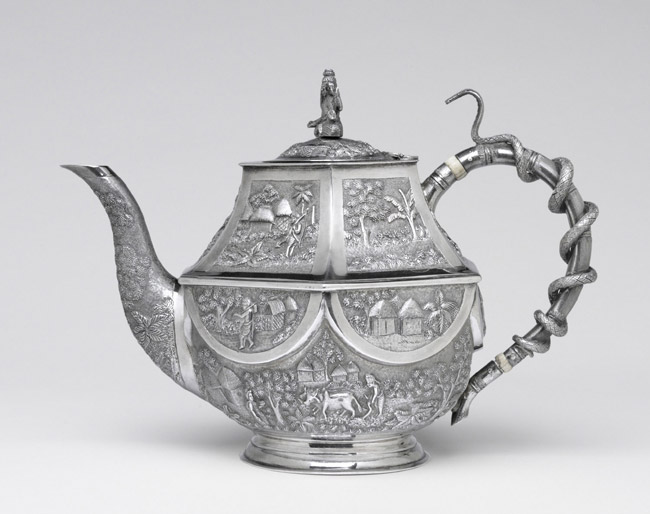 Teapot Adorned with Scenes of Rural Life