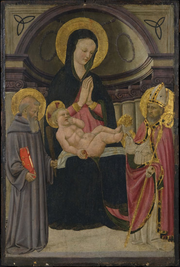 Virgin and Child Enthroned with Saint Benedict and a Bishop Saint