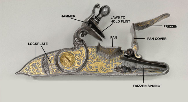 Exterior of Mechanism from Flintlock Gun of Wilhelmine Charlotte of Brandenburg, c. 1730