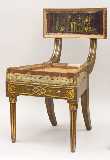 Side Chair: Decorated by John Philip Fondé, American, 1794 - 1831, working in Philadelphia 1816 – 1817 (upholstery removed)