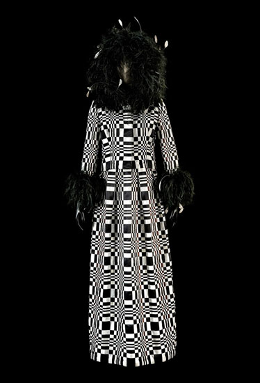Omaggio a Vasarely (Homage to Vasarely) Dress, 1965, woven silk satin ribbons and ostrich feathers (N.268)