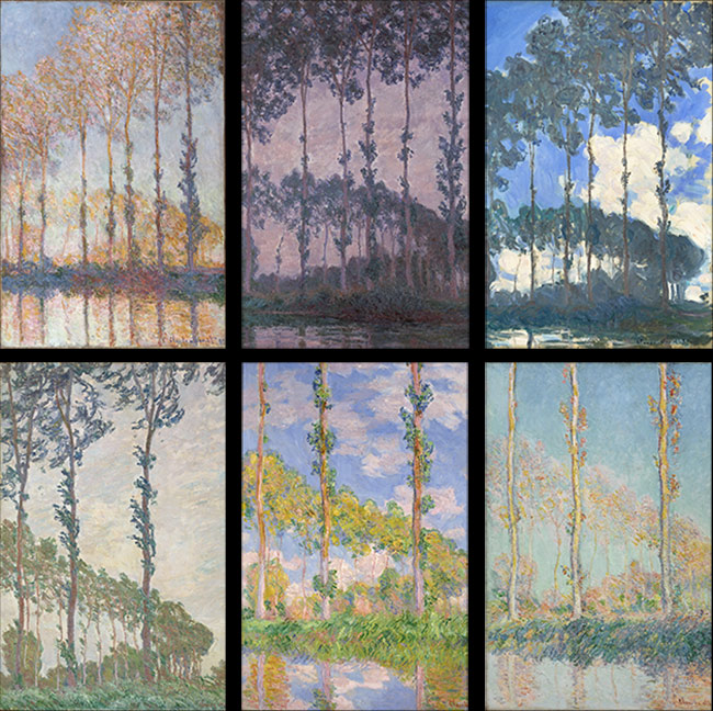 Six paintings from Claude Monet's <i>Poplar</i> series (details)