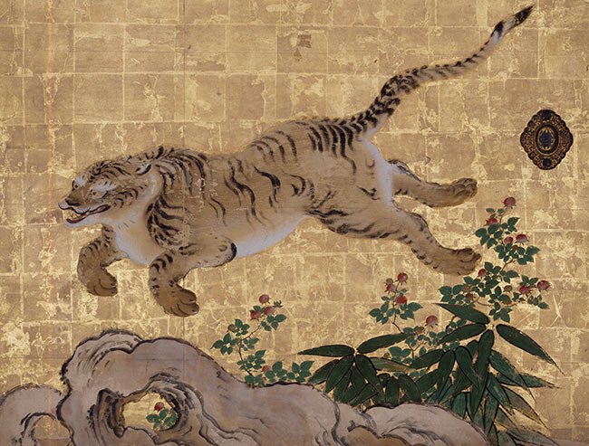 Tigers in a Bamboo Grove (Tigers at Play) (detail of sliding door)